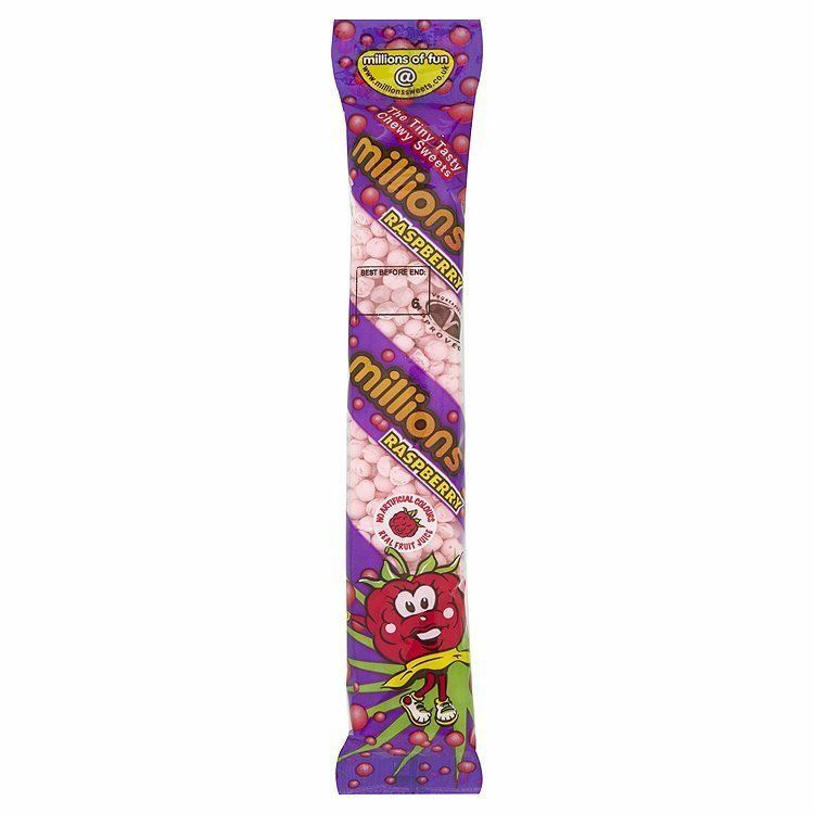 MILLIONS SWEETS RASPBERRY FLAVOUR - Full Box Of 12 Tubes