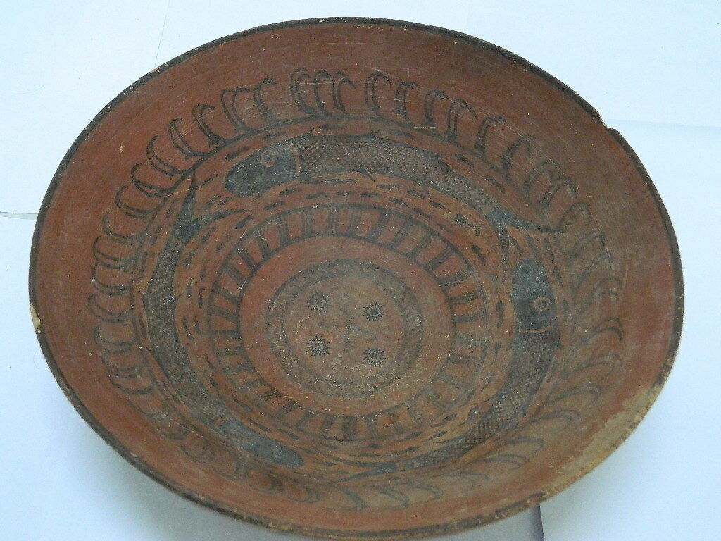 Ancient Huge Size Teracotta Painted Bowl With Fishes Indus Valley 2500 BC #PT152