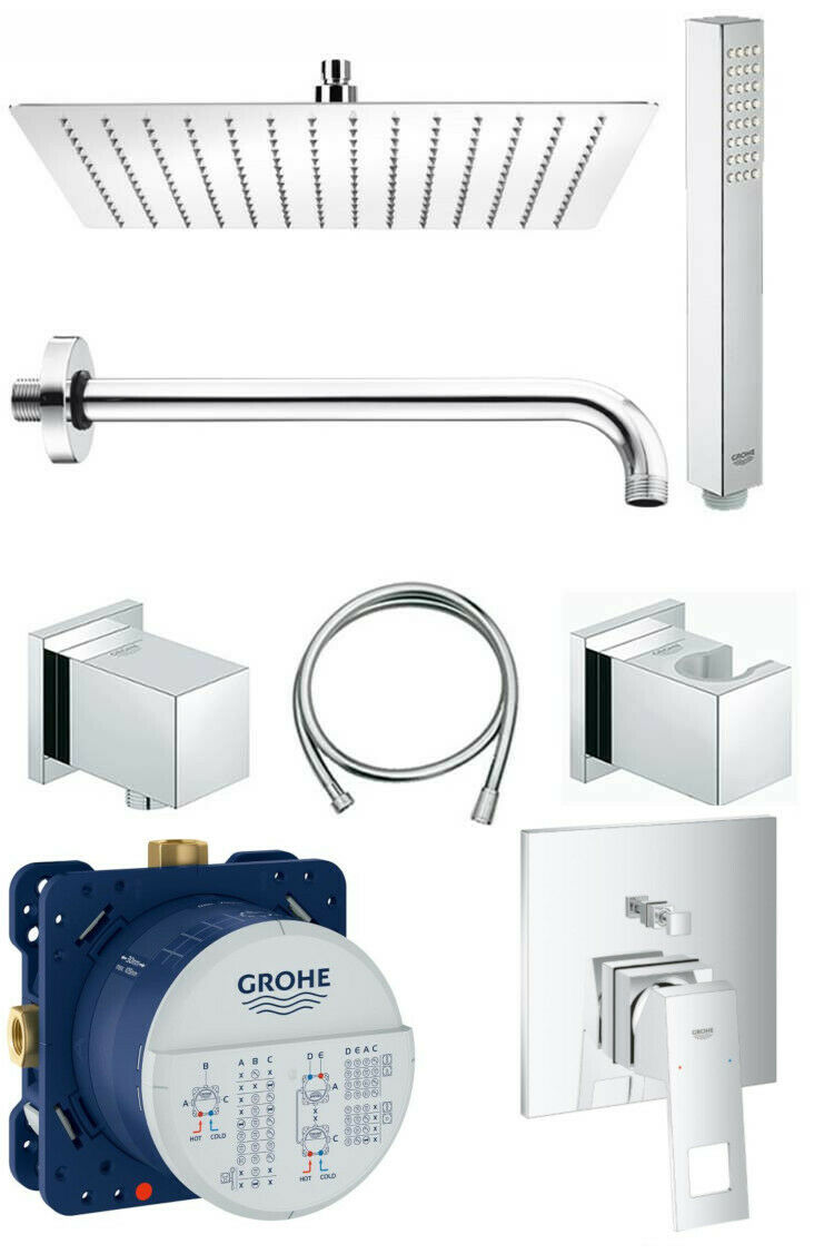 grohe unterputz duscharmatur set eurocube mit regendusche kopfbrause 30x30 cm eur 324 90. Black Bedroom Furniture Sets. Home Design Ideas