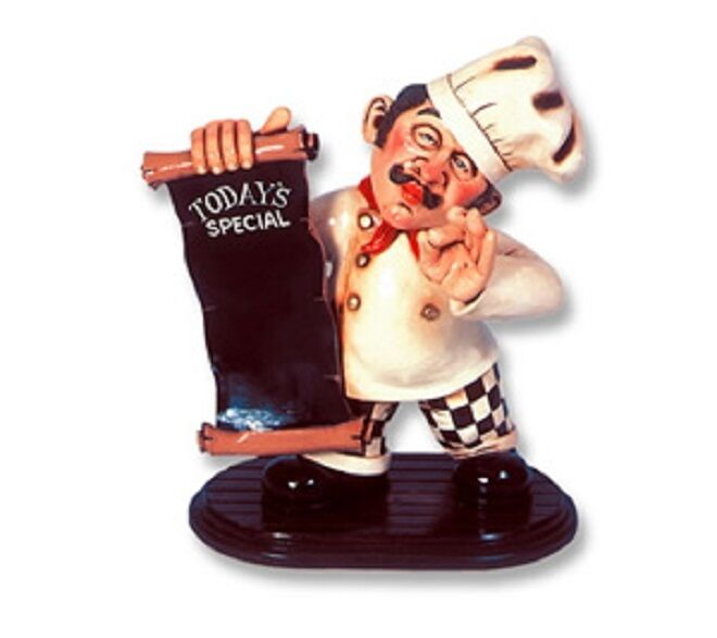 Pastry Cook Menu  Chef Statue Cafe Restaurant Bar Home Decor Art