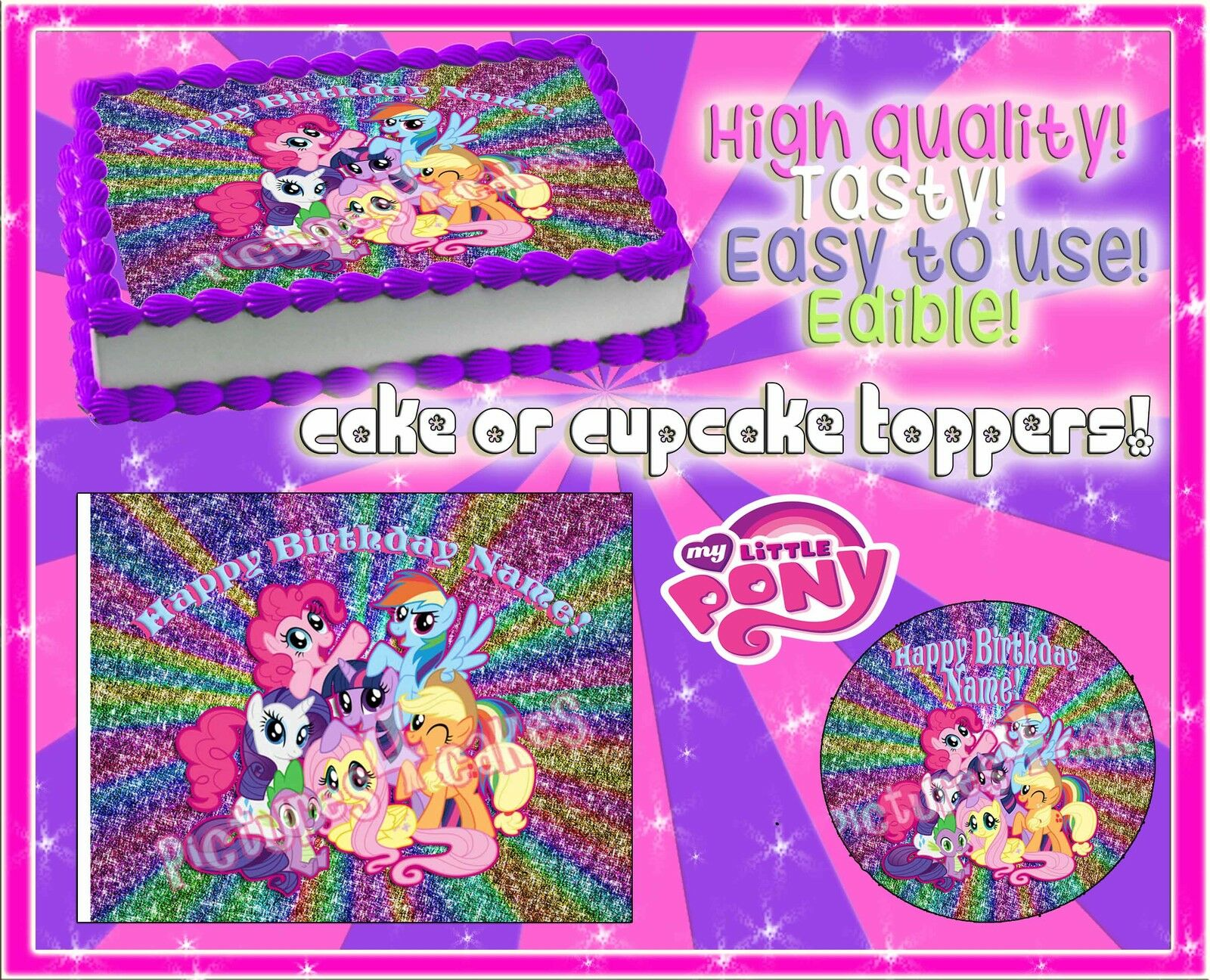4 My Little Pony Birthday Cake Topper Edible Picture Paper Frosting