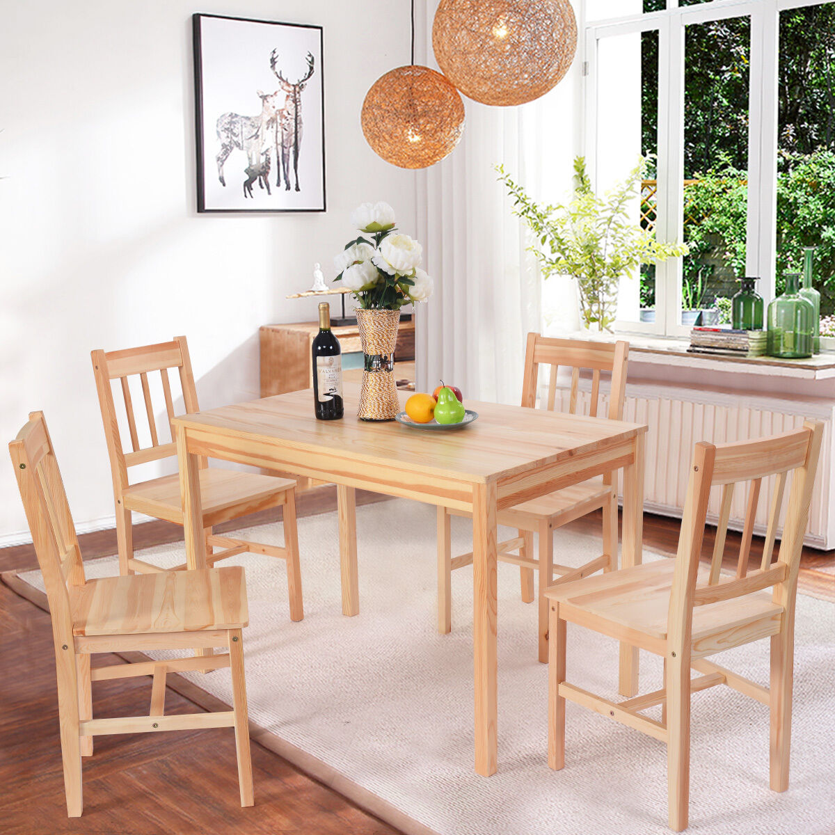 Solid wooden pine dining table and 4 chairs set kitchen for Kitchen set natural
