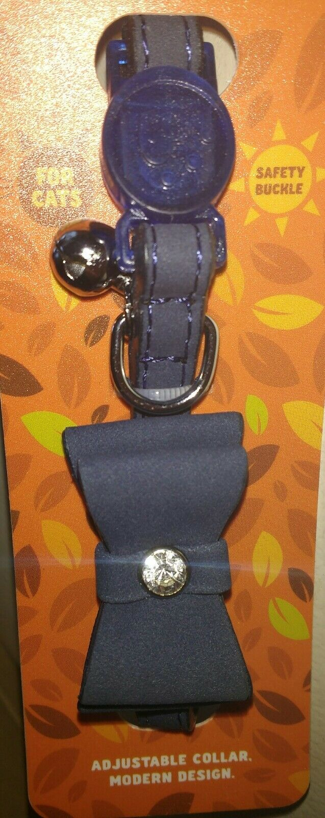Wolf & Tiger Collection Diamanté Bow Cat Collar in  midnight blue Colour