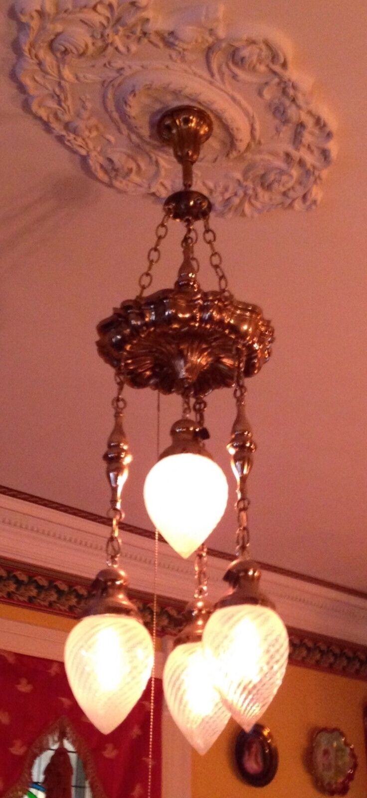 Antique Victorian Brass Opalescent Glass Shade Chandelier Ceiling Fixture