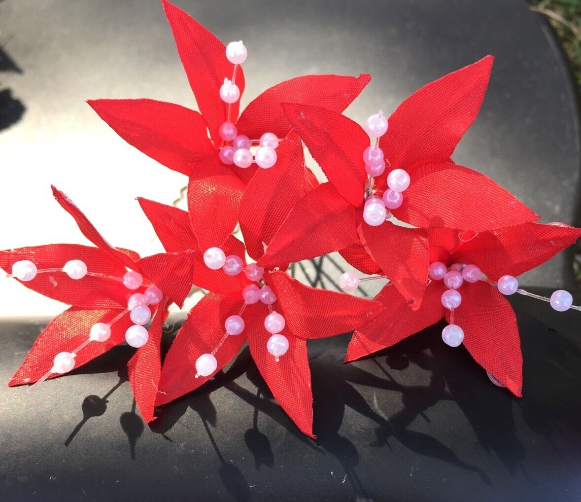 5 Wedding Prom Red Lily Flower Hair Pins Clips Handmade 390