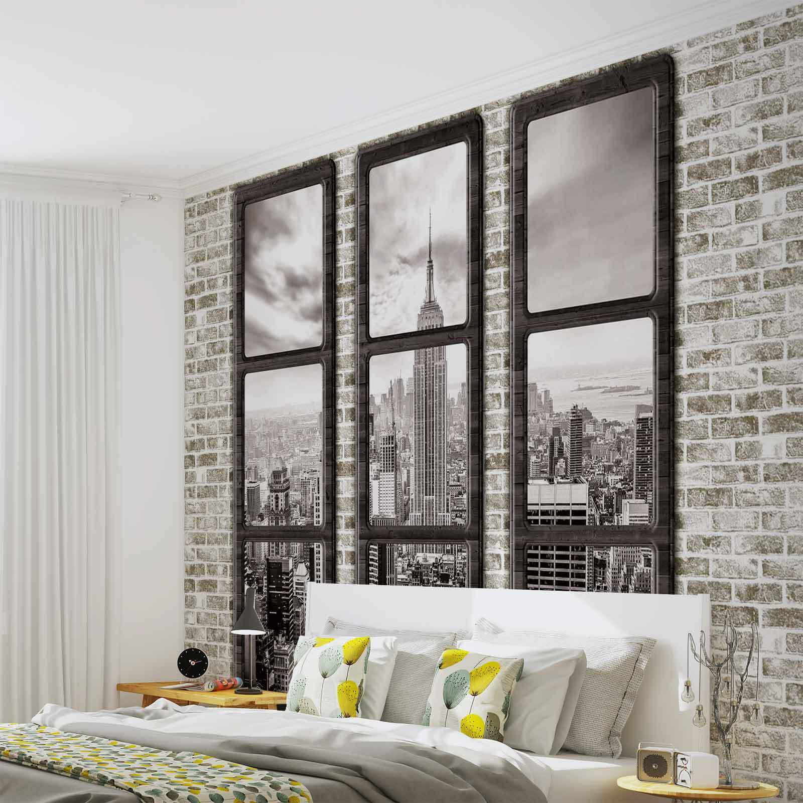 vlies fototapete new york city skyline fenster ansicht tapete mural 2833fw eur 1 00. Black Bedroom Furniture Sets. Home Design Ideas