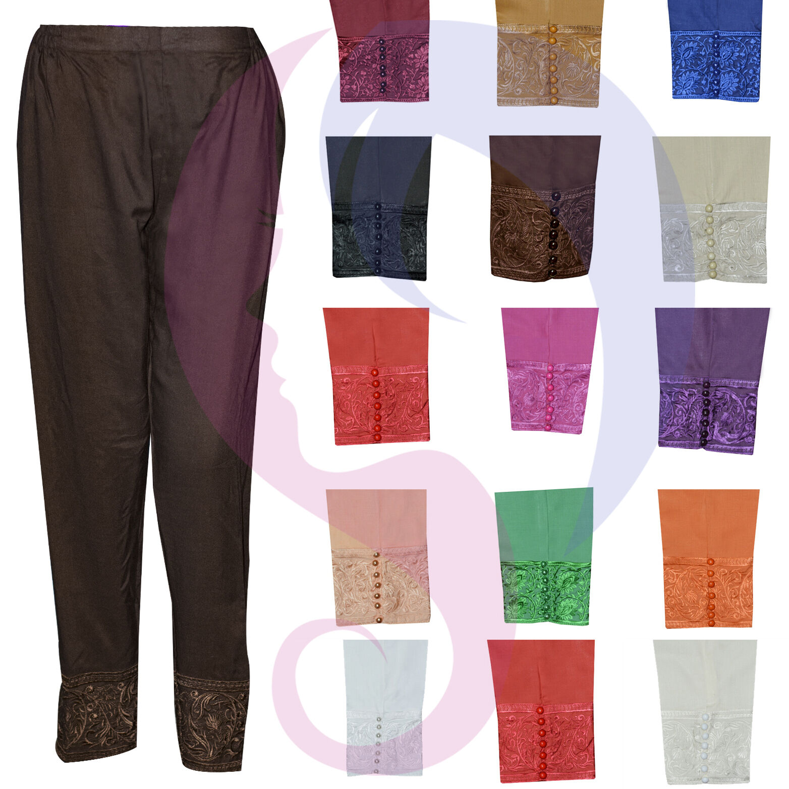 New Asian Indian Pakistani Designer readymade fancy button Embroidery trouser