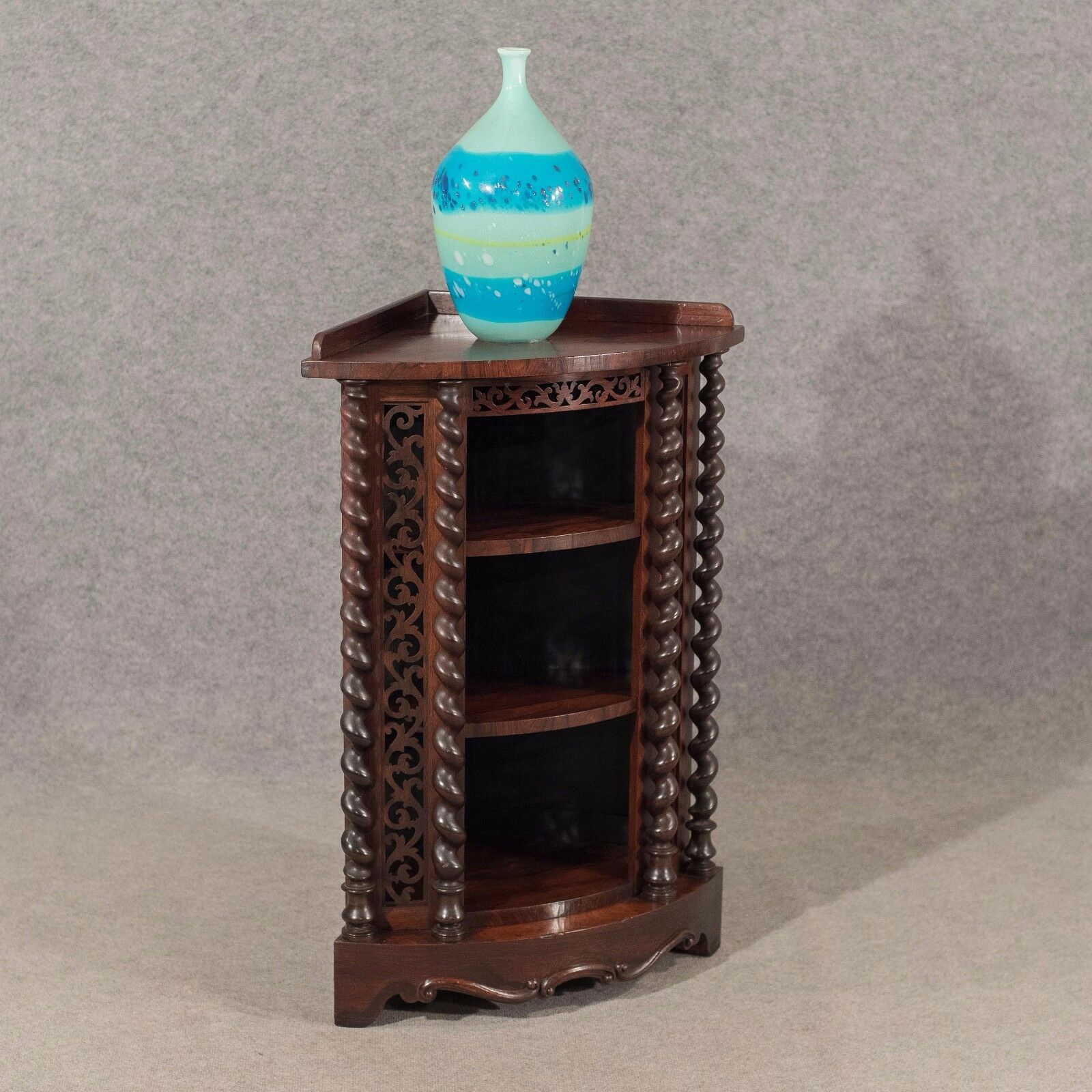 Antique Corner Whatnot Display Cabinet in Fine Rosewood English Victorian c1850