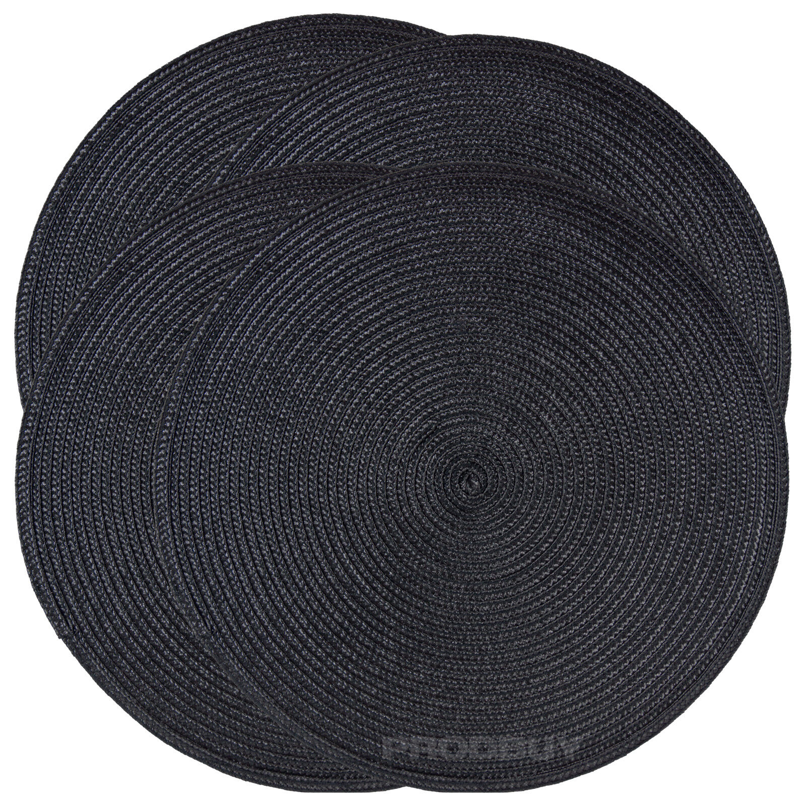 Set of 4 woven black round fabric placemats dining table for Table placemats
