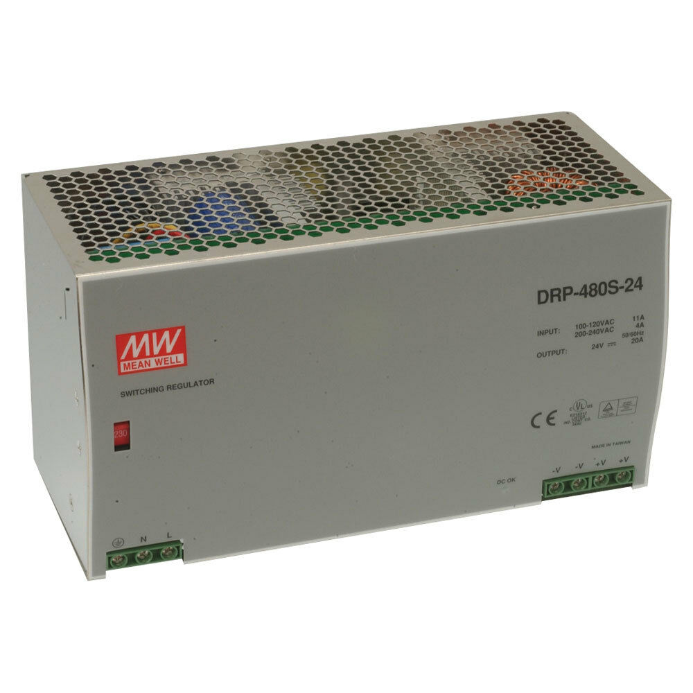 Power 110 220 Volts Dual 5060hz 20 Amps Mean Well Drp 480s 24 Ac To Dc Din Rail Supply Volt Amp 1 Of See More