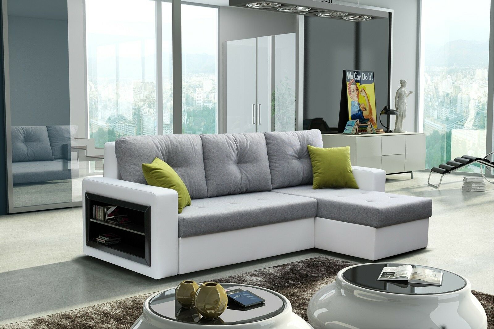 wohnlandschaft eckgarnitur sofa forte mit schlaffunktion bettkasten schrank top eur 479 00. Black Bedroom Furniture Sets. Home Design Ideas
