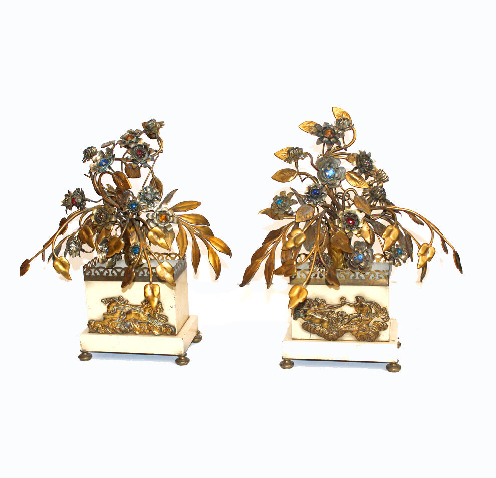 Pair ANTIQUE FRENCH Antique Jeweled Tole Floral Figural LAMPS Rare