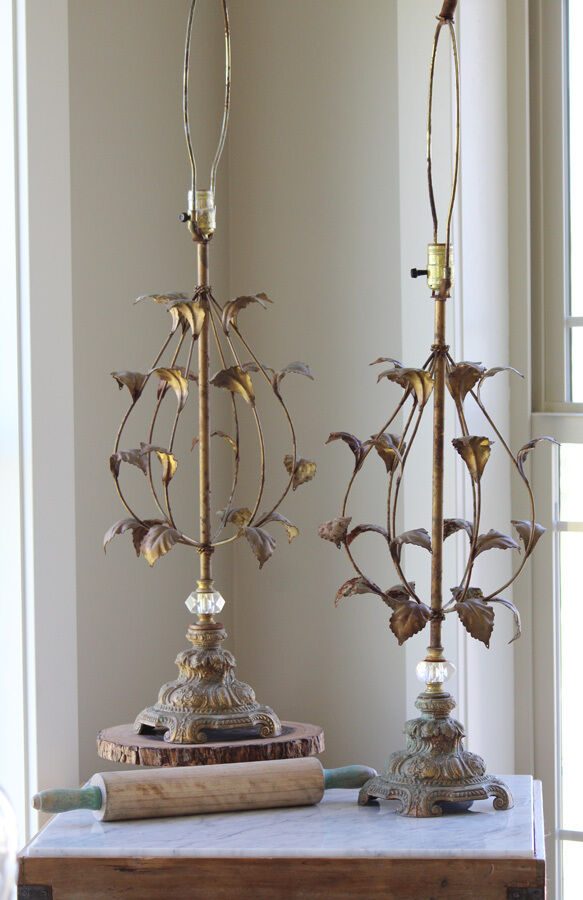 Pair Antique italian Crystal Tole Lamps Best Patina Ever