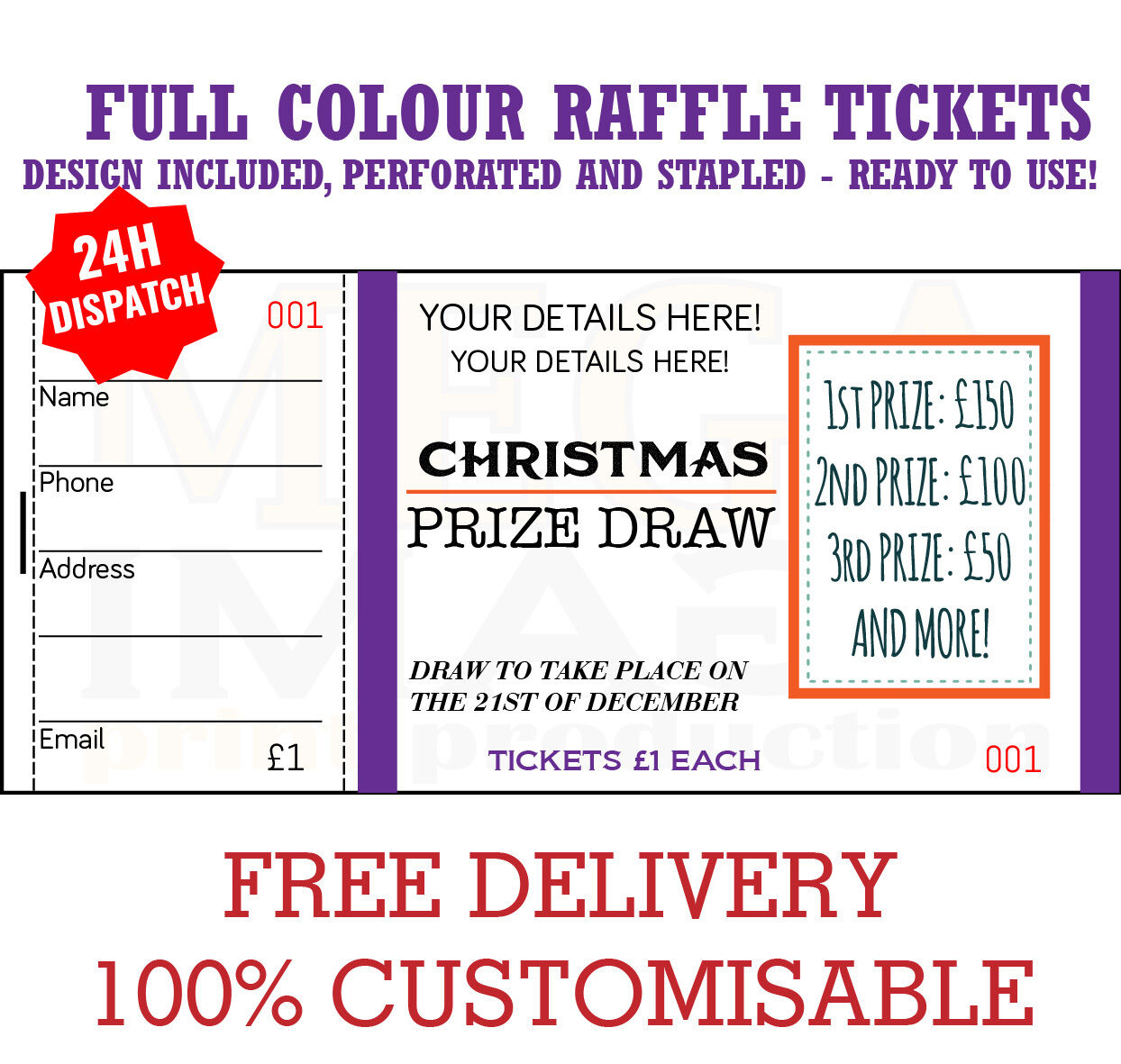 1000 printed personalised raffle prize draw tickets 19 50