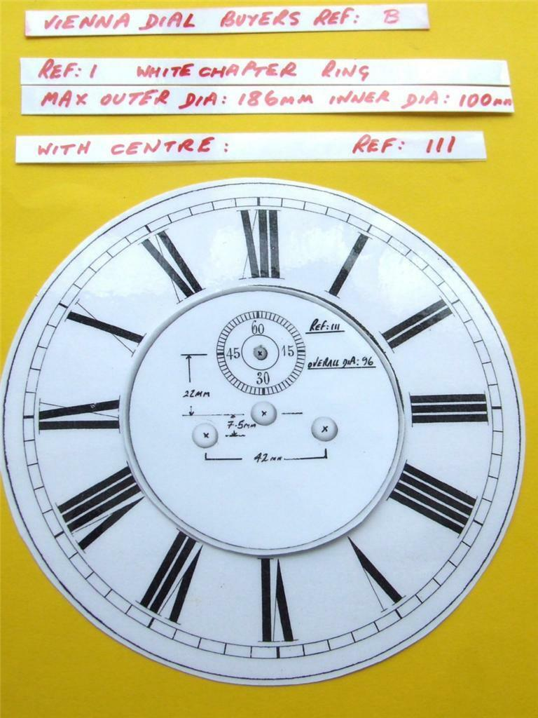Buyers Ref: B,  Replacement laminate White  Vienna Regulator Clock Dial option 2