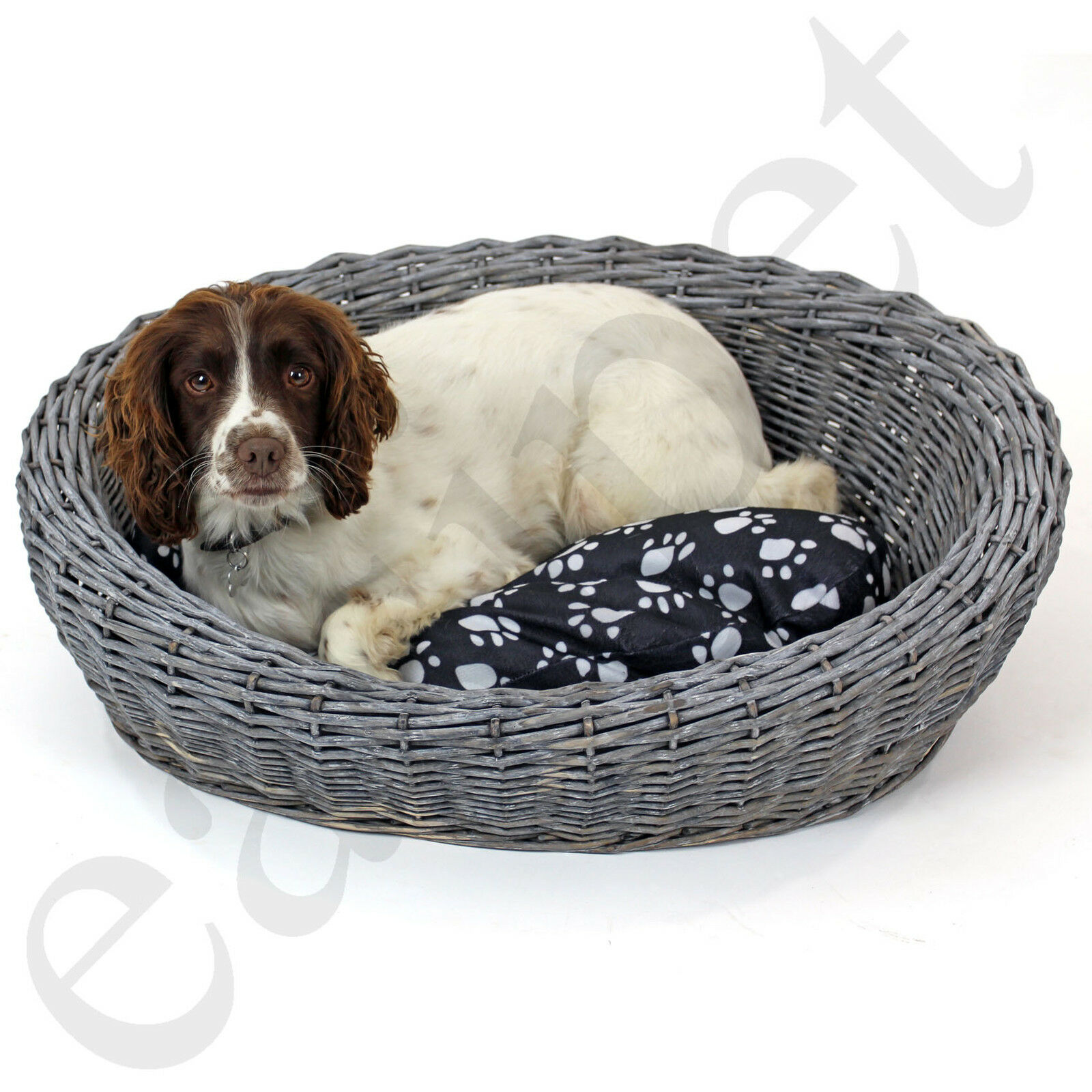 Oval Wicker Dog Puppy Basket Pet Bed Sofa Washable Cushion Cat Kitten Easipet