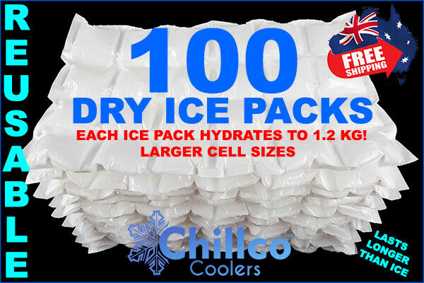 100 X Sheets Dry Gel Ice Packs - Reusable - Hydrates To 1.2 Kg - Dry Ice Packs