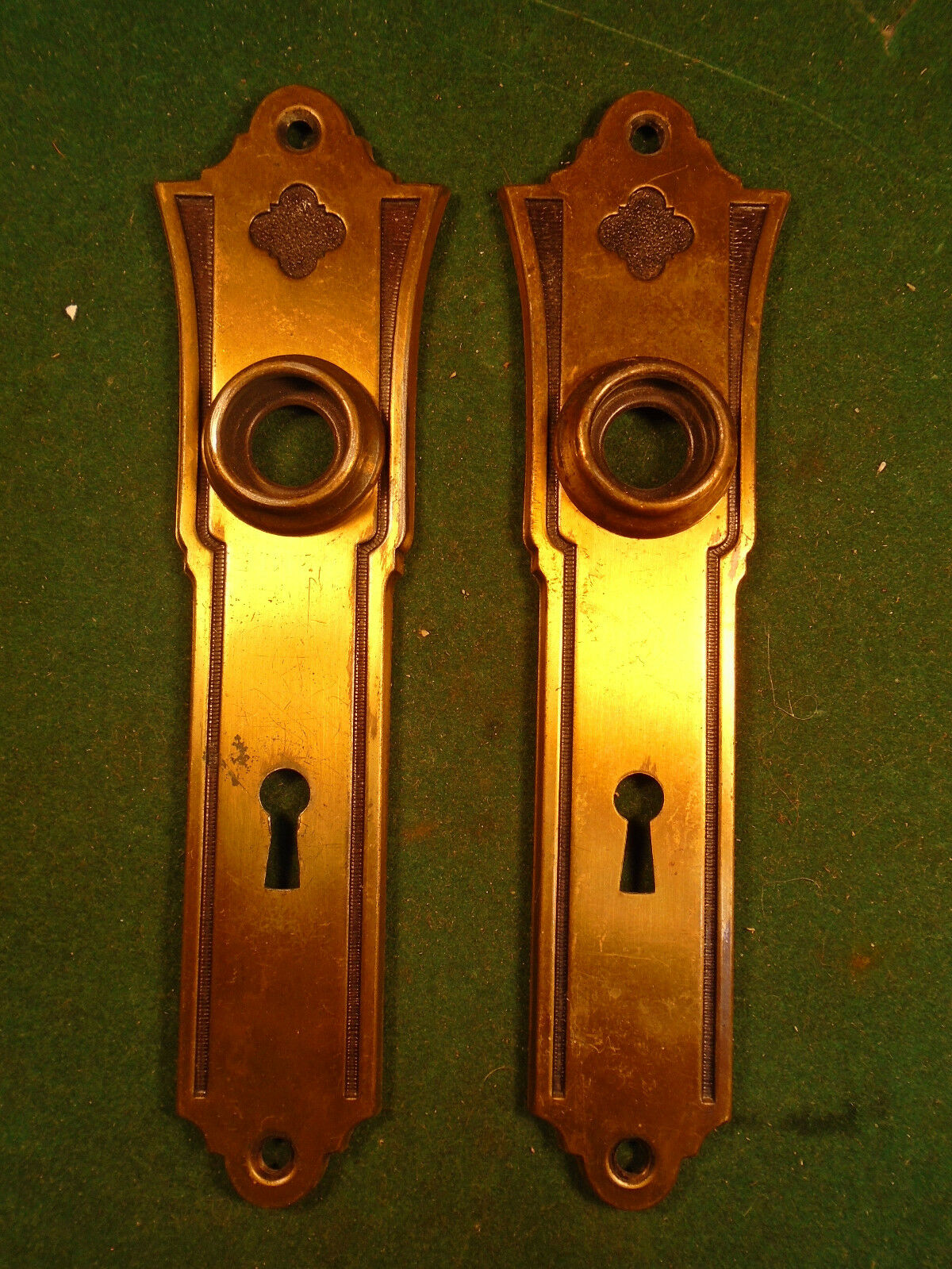 PAIR of SALVAGED ART DECO / GOTHIC  STAMPED STEEL BACKPLATES - (1593-J)