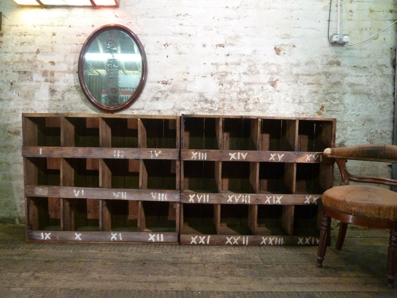 A Pair of Industrial Orignal Planked Pigeon Holes shelves Antique Cabinet c1940