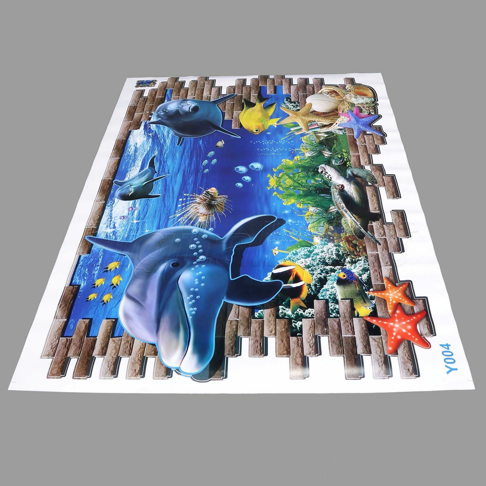 Large 3d underwater world dolphin wall stickers mural kids for Decor mural 3d