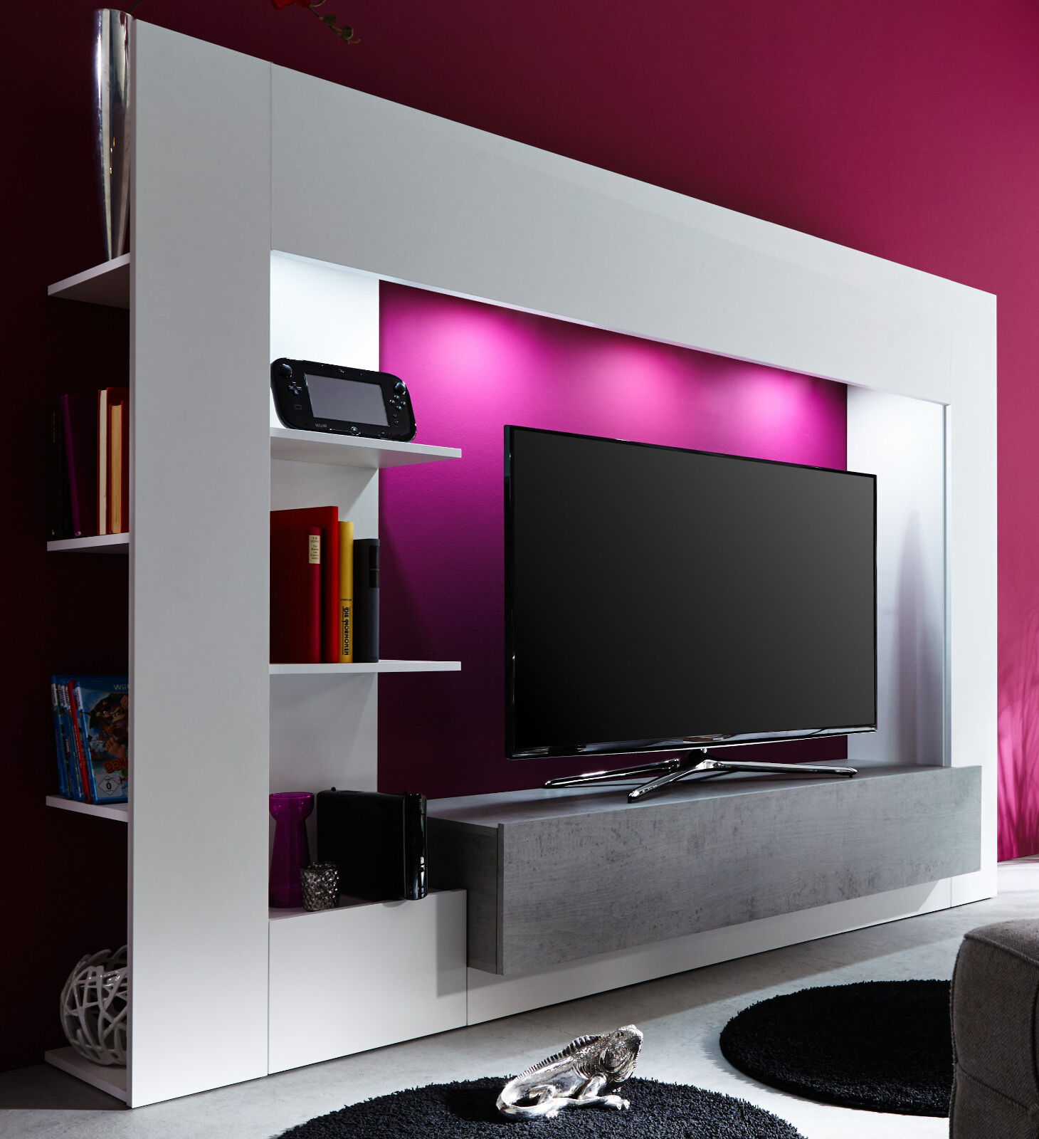 wohnwand medien center weiss beton industry grau hifi tv. Black Bedroom Furniture Sets. Home Design Ideas