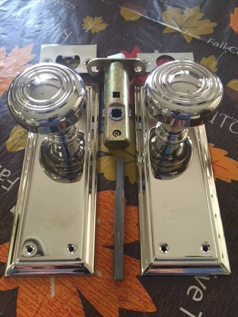 Door Plate Sets - Solid Brass Polished Nickel Finish