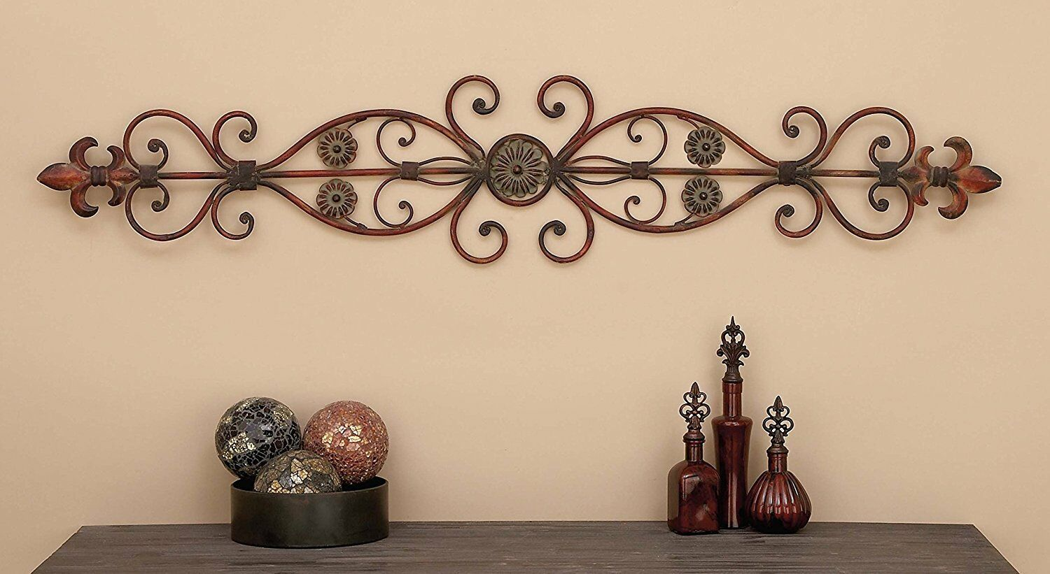 Large Decorative Rustic Scrolling Wrought Iron Wall Grille Art Panel Home Decor 1 Of 11only 3 Available See More