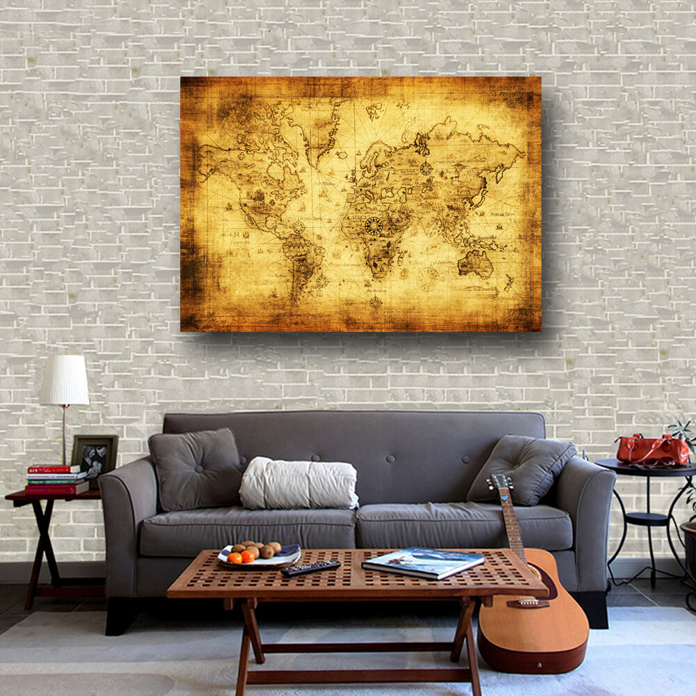 Fabric canvas poster vintage pirate treasure world map bar cafe wall fabric canvas poster vintage pirate treasure world map bar cafe wall decor s58 1 of 6 see more gumiabroncs Images