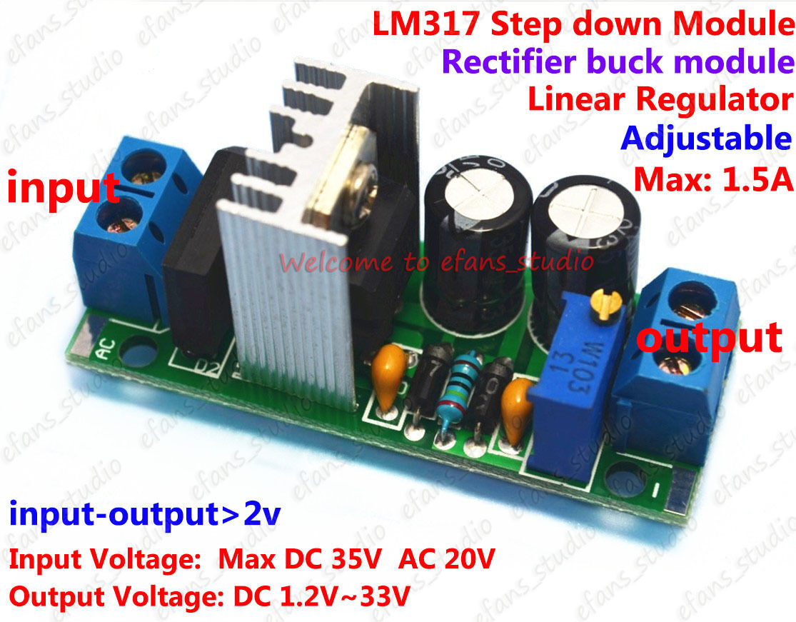 Ac Dc To Converter Adjustable Lm317 Voltage Regulator Step Down Power Supply Circuit With Variable Output Of 12 30v Module 5v 12v