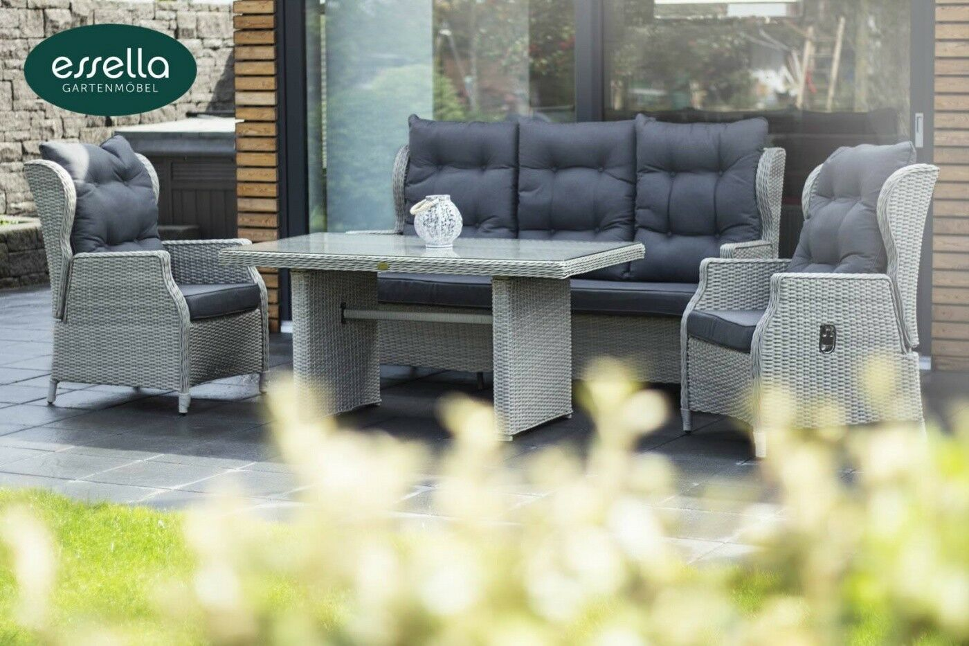 essella polyrattan sitzgruppe dining lounge gruppe sessel bank gartenm bel set eur. Black Bedroom Furniture Sets. Home Design Ideas