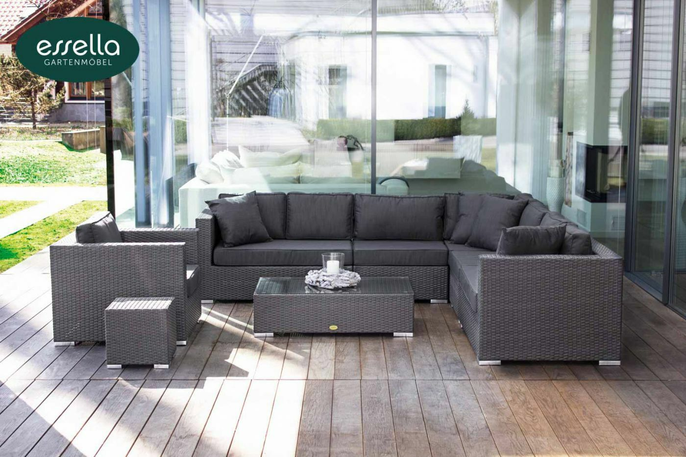 essella polyrattan garten lounge gartenm bel sitz gruppe garnitur sofa couch neu eur. Black Bedroom Furniture Sets. Home Design Ideas