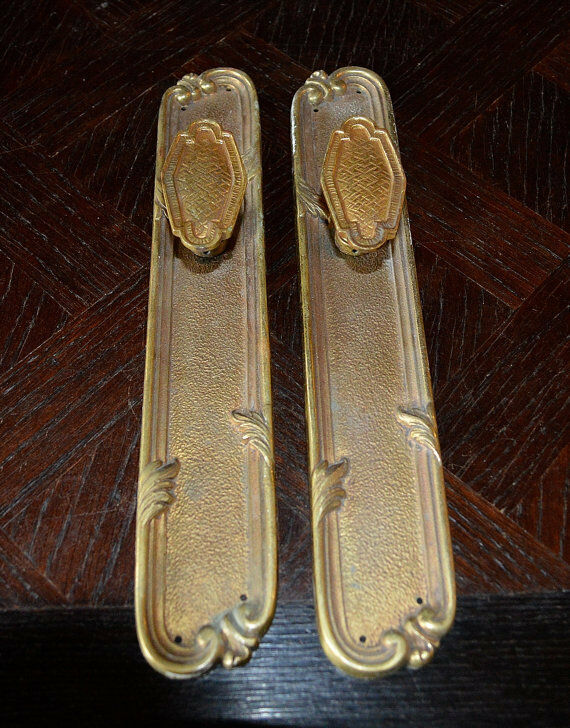 Antique Pair French Door Knobs Backplates Handle Set Brass Ormolu 1 Of  1Only 1 Available ...