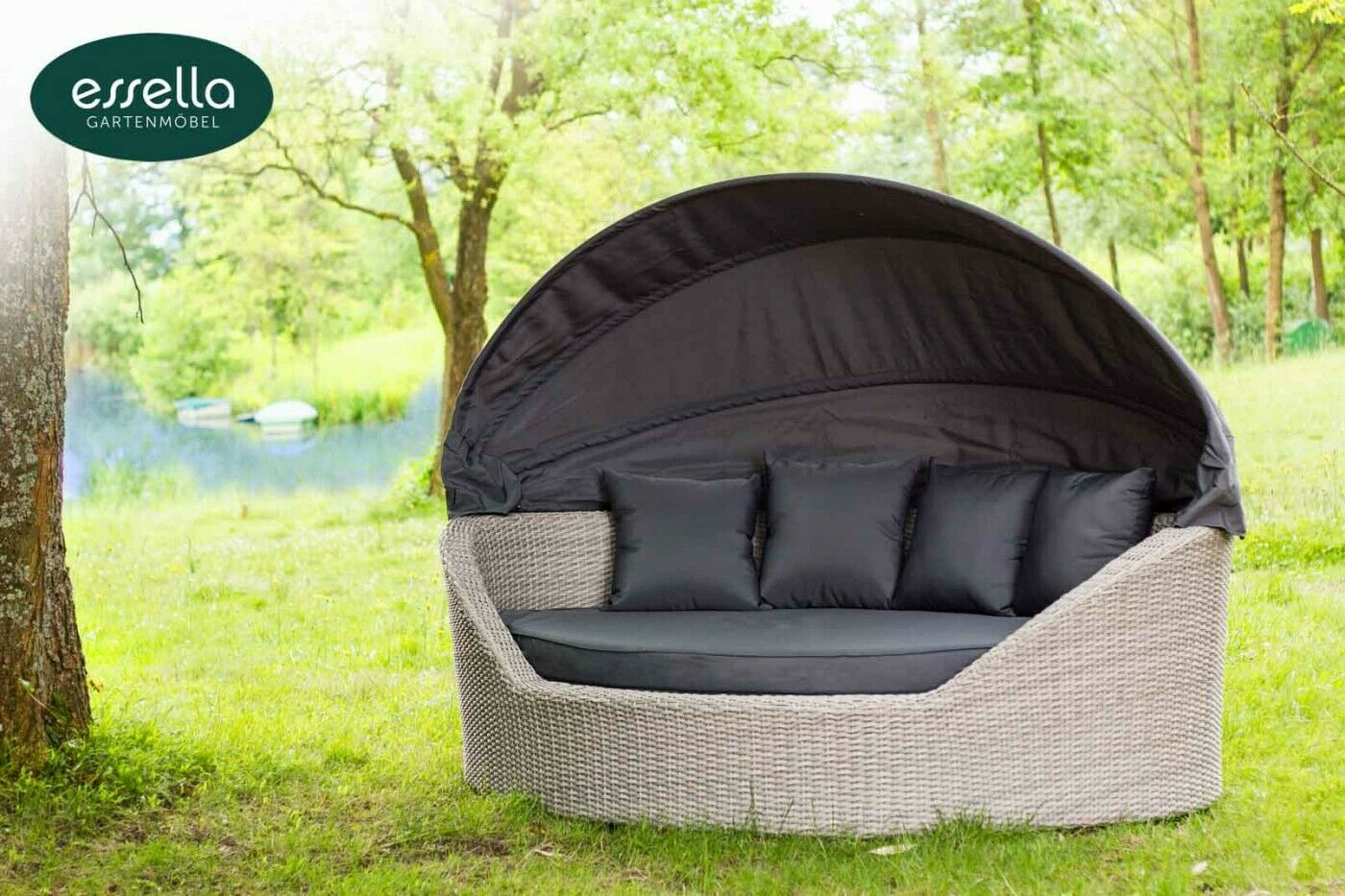 essella polyrattan sonneninsel garten liege muschel love seat gartenm bel set eur. Black Bedroom Furniture Sets. Home Design Ideas