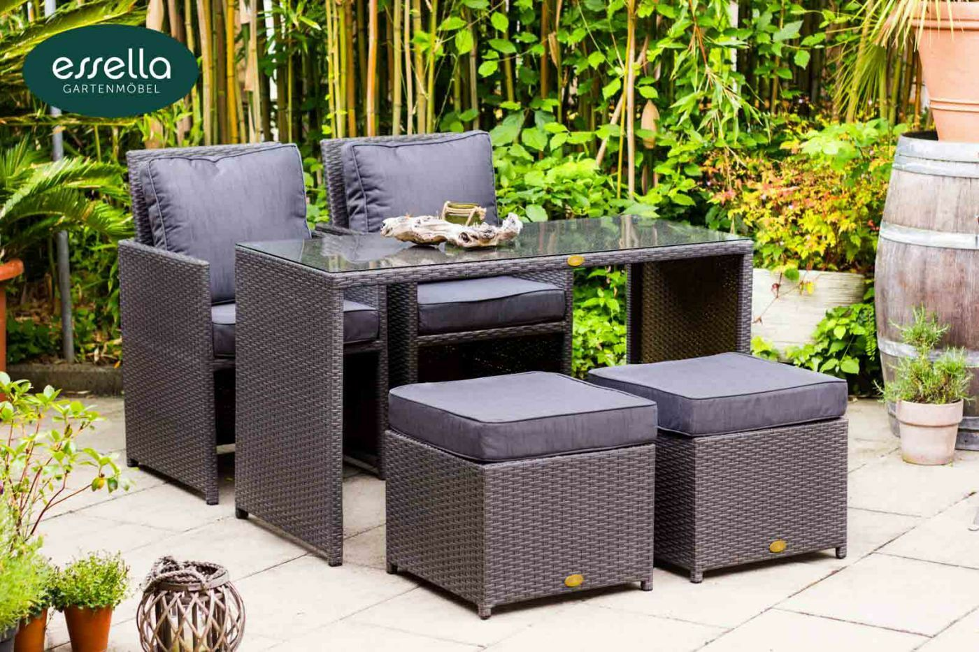 essella polyrattan gartenm bel essgruppe sitzgruppe rattan gartenset cube w rfel eur 576 45. Black Bedroom Furniture Sets. Home Design Ideas