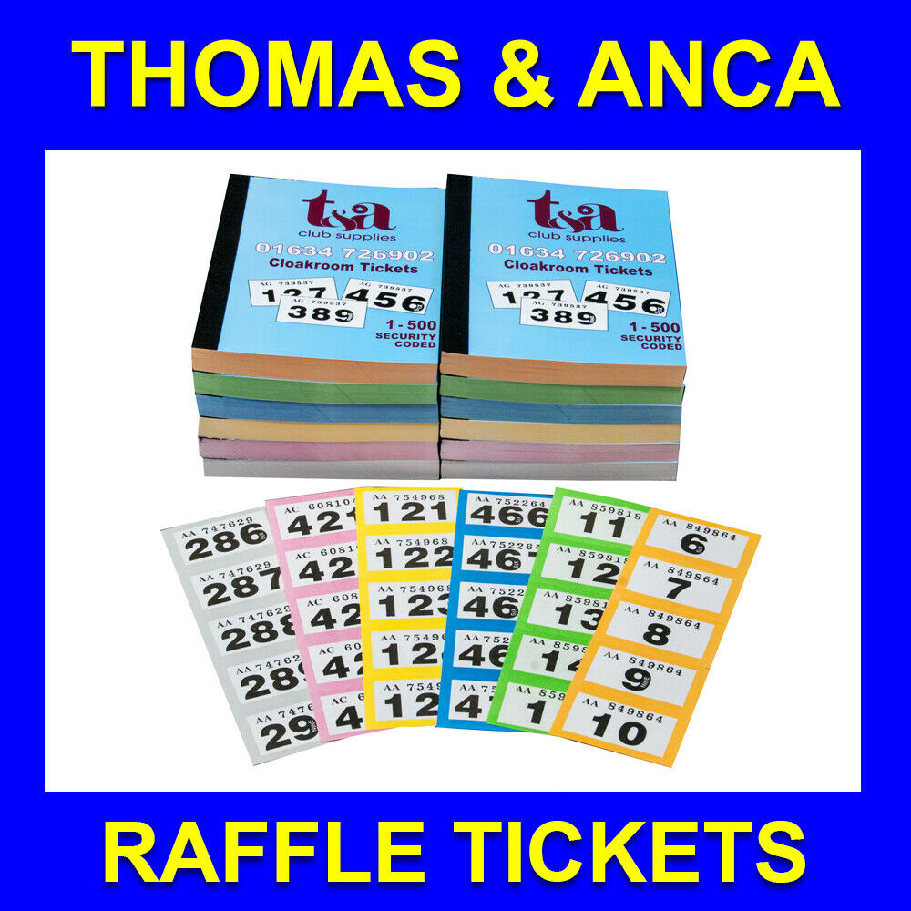 Tombola Co Uk Login >> 12 BOOKS of 1-500 Cloakroom Raffle Tombola Tickets 5 Different Colours - £12.00 | PicClick UK