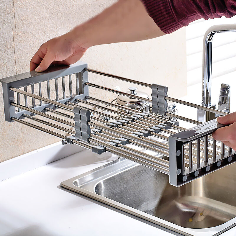 KITCHEN SINK STORAGE IN945 Dish Drying Rack Holder Drainer Basket ...