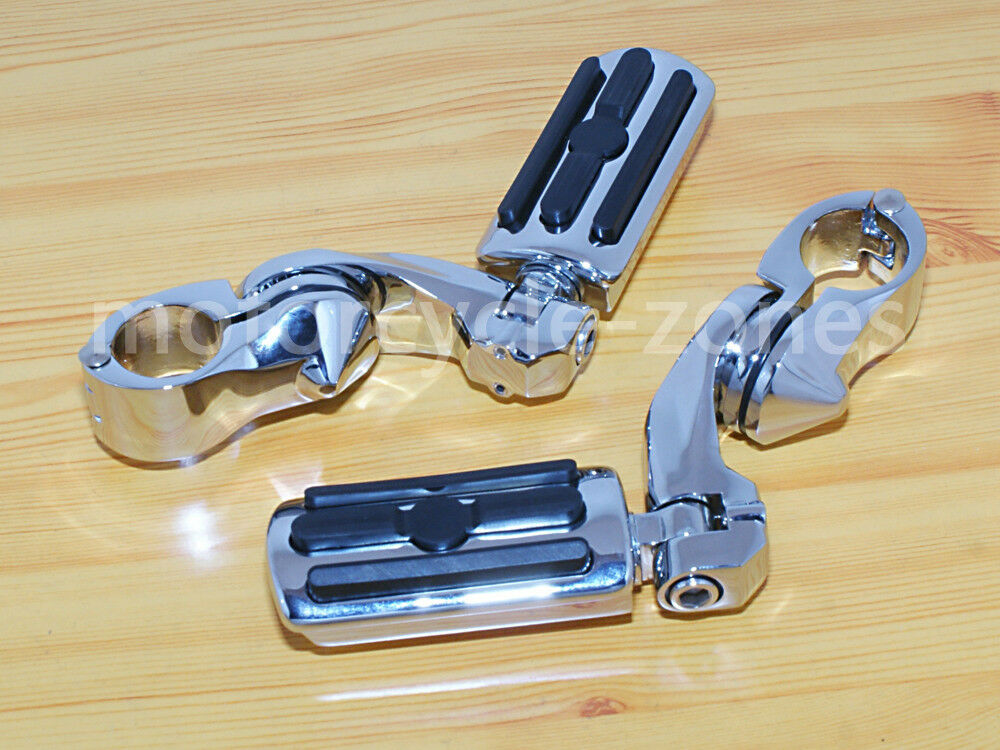 1 4 Short Angled Highway Guard Streamliner Foot Pegs Mount For Harley Chrome