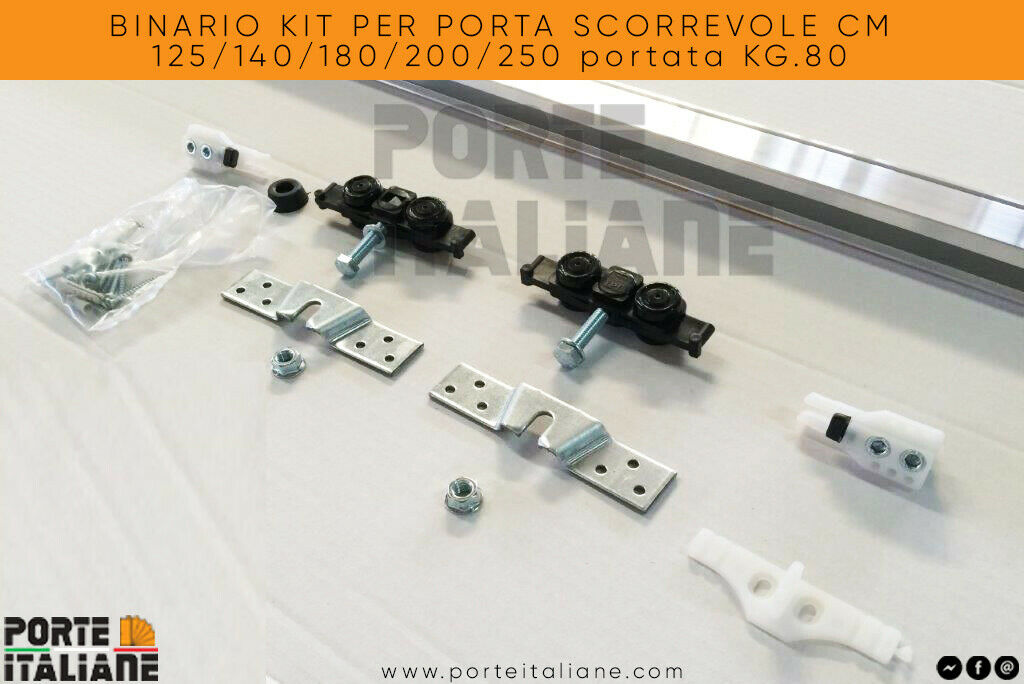 Binario kit per porta scorrevole cm 125 140 180 200 250 for Doortech scrigno