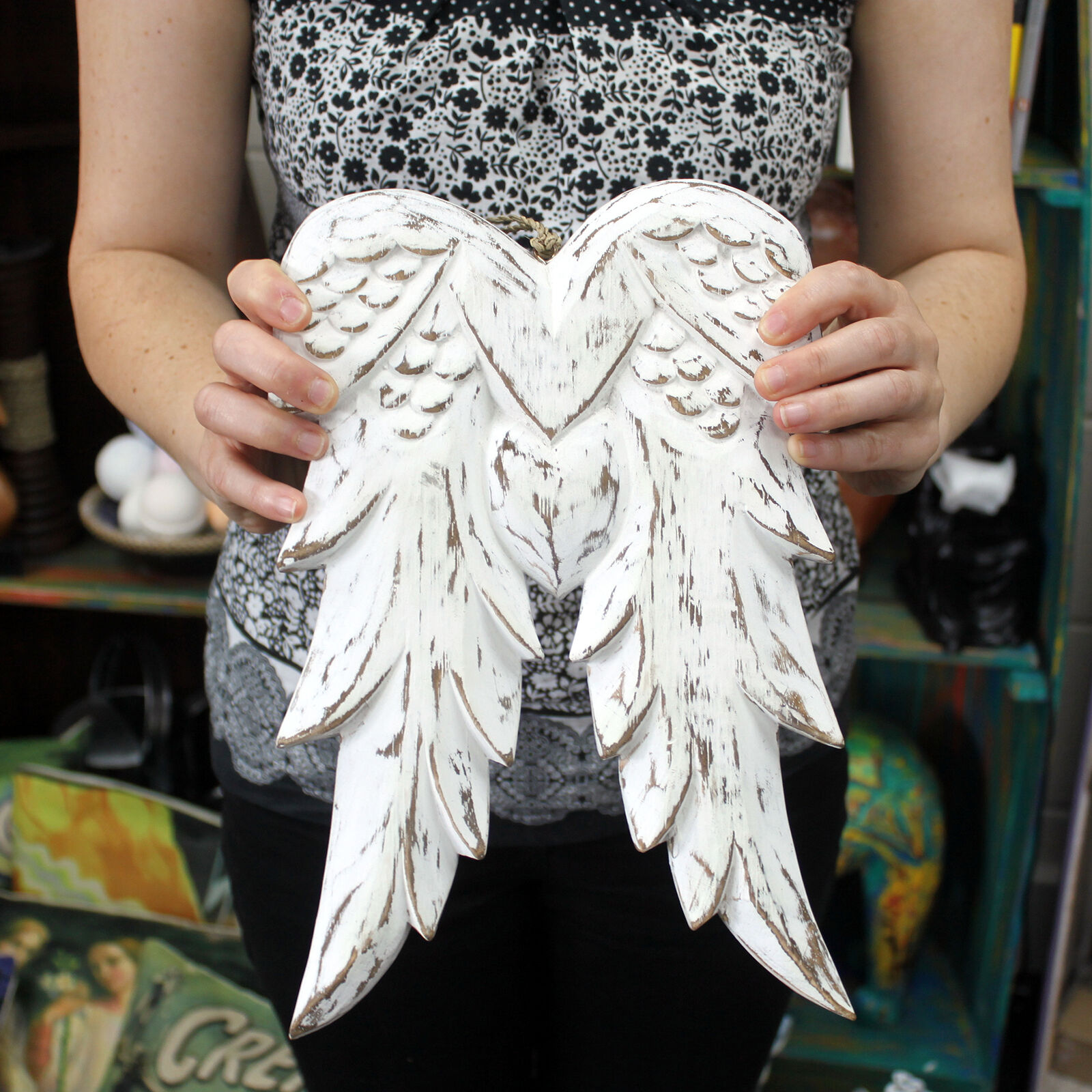 Hand crafted wooden angel wings 31cm wall hanging for Angel wings wall decoration uk