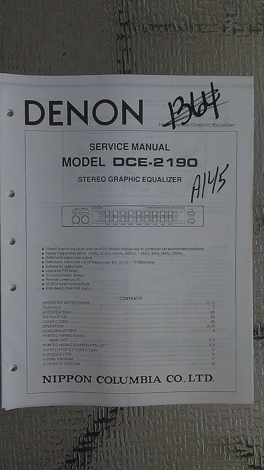Denon Dce 2190 Service Manual Original Repair Book Stereo Car Radio 7 Band Equalizer Auto Wires Diagram 1 Of 1free Shipping