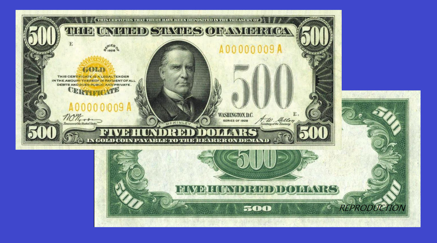 Usa 500 Dollars 1928 Gold Certificate Unc Reproduction 999