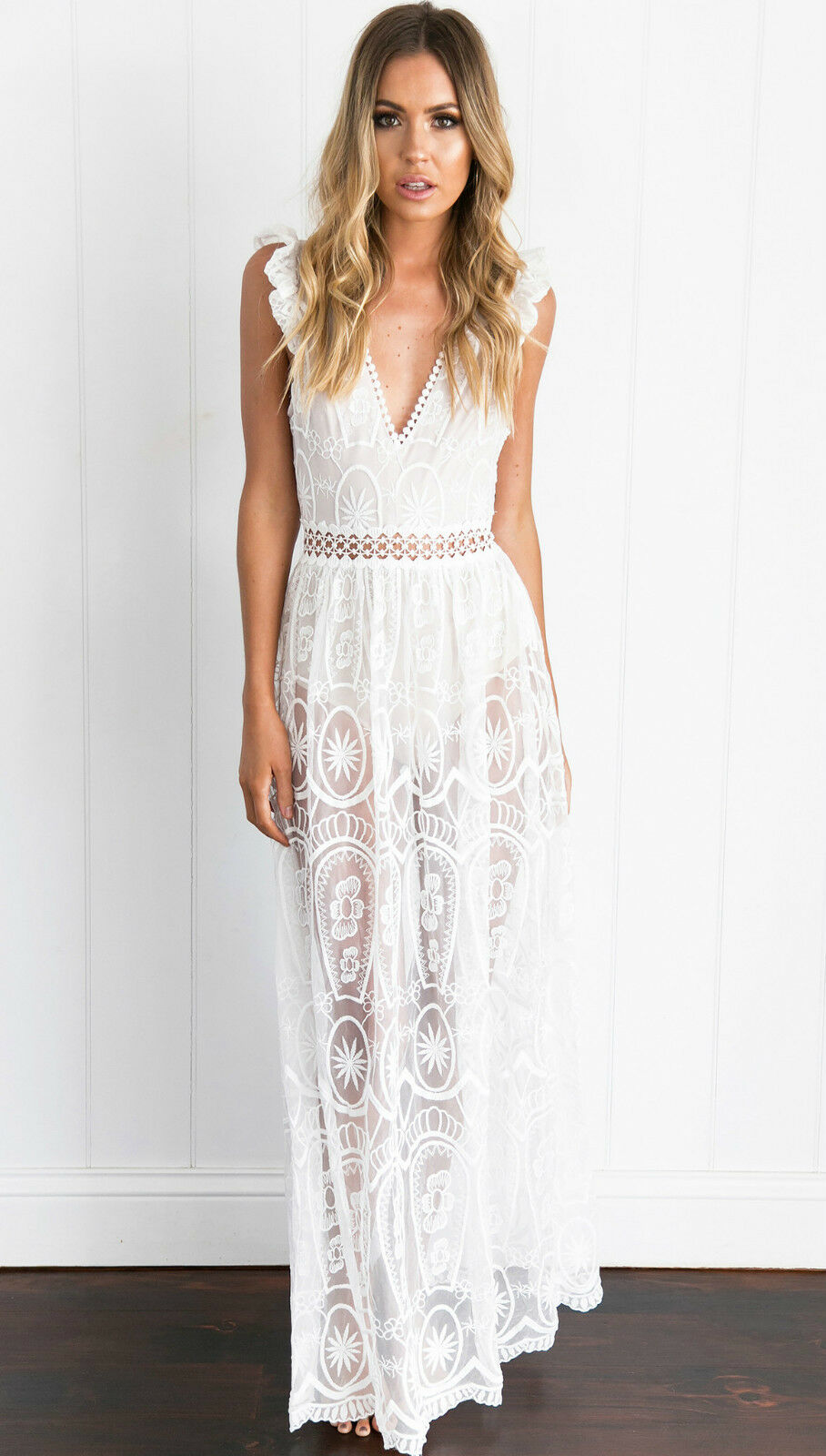 New cream crochet lace festival maxi dress size 10 12 for Lace maxi wedding dress