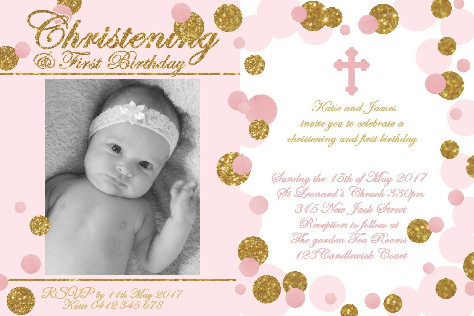 CHRISTENING INVITATION 1ST birthday Baptism Naming Day Party Invite ...