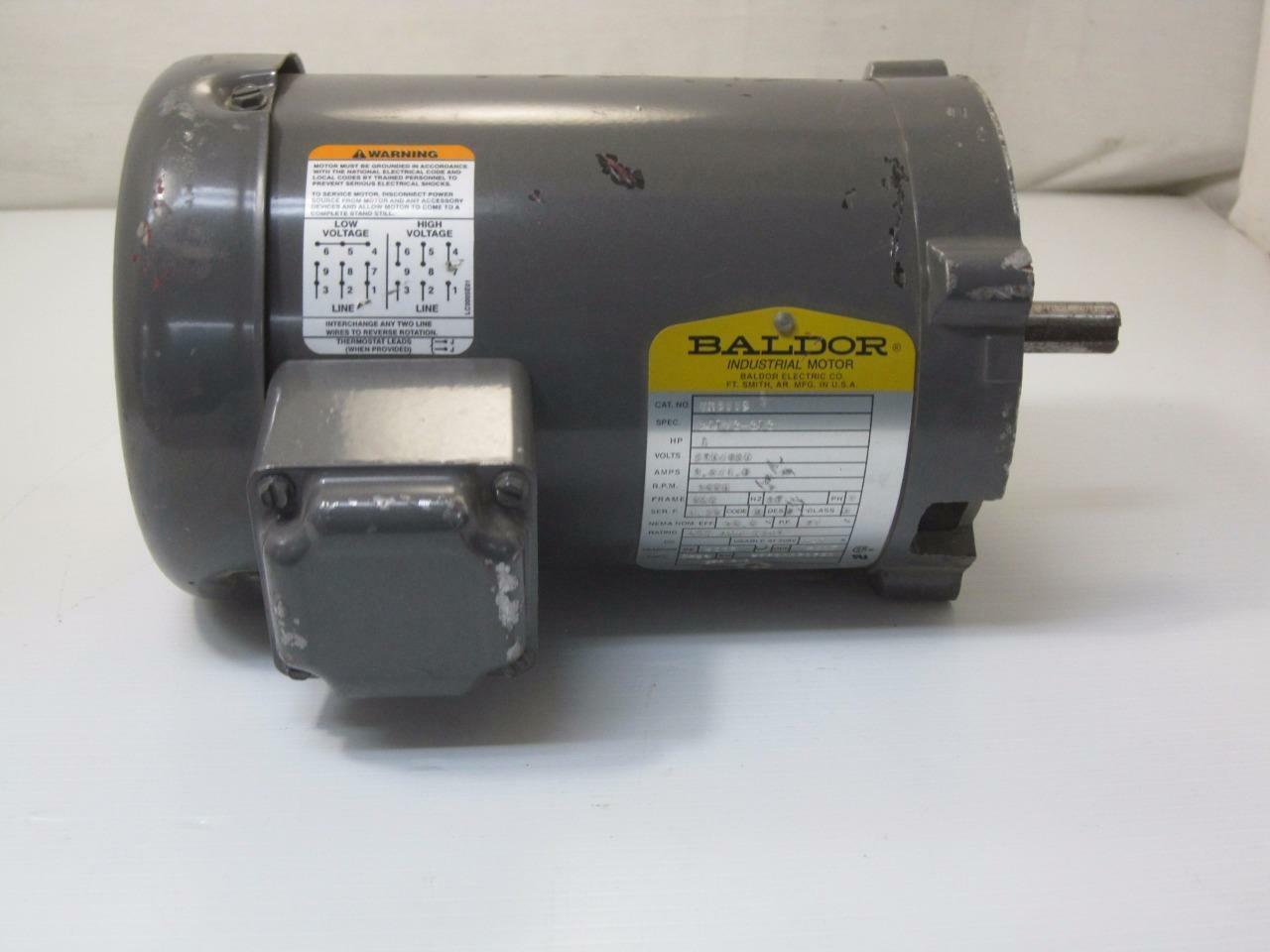 12383 Baldor Vm3115 Electric Motor 1hp 230 460v 3450 Rpm Frame 56c High Voltage And Low Wiring 1 Of 6only Available