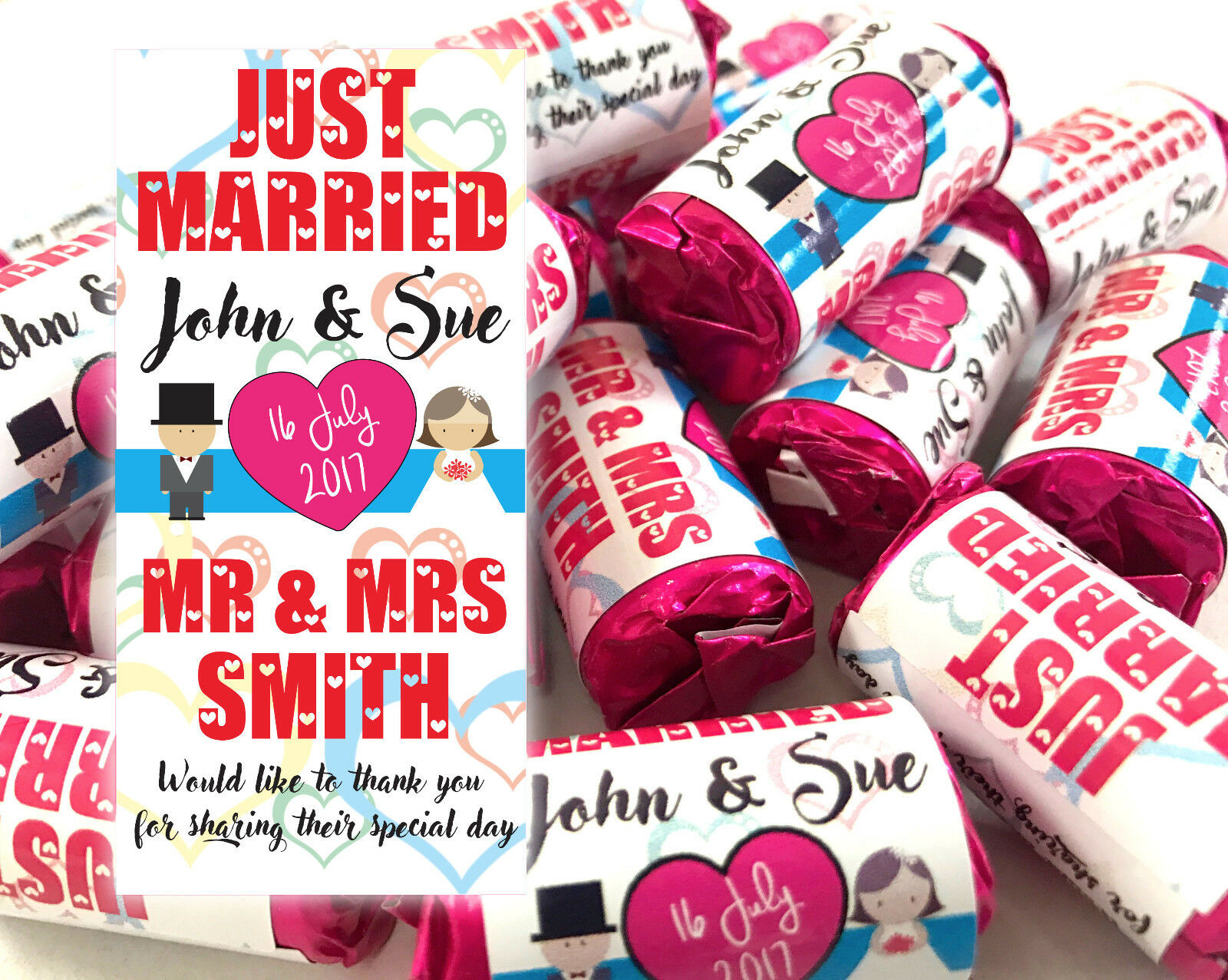 WEDDING FAVOURS PERSONALISED Love Hearts Mini Love Sweets Just ...