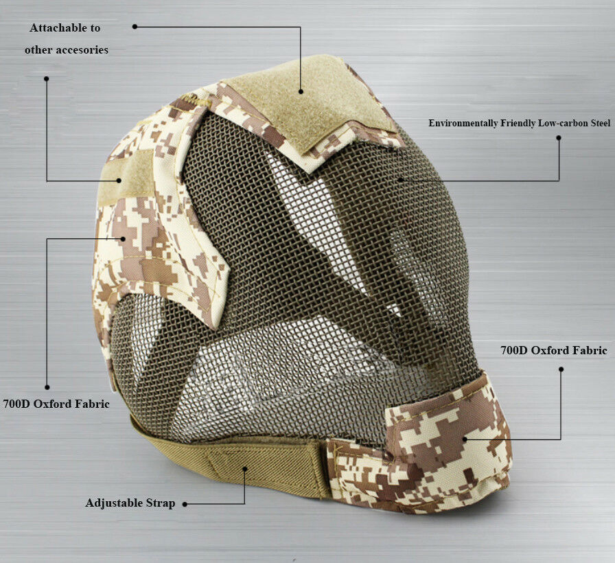Tactical Games Camouflage Military Army Fencing Mesh Mask