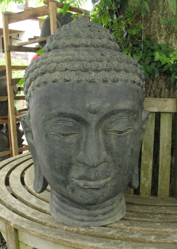 buddha kopf indonesien lavastein skulptur statue feng shui garten dekoration eur 325 00. Black Bedroom Furniture Sets. Home Design Ideas