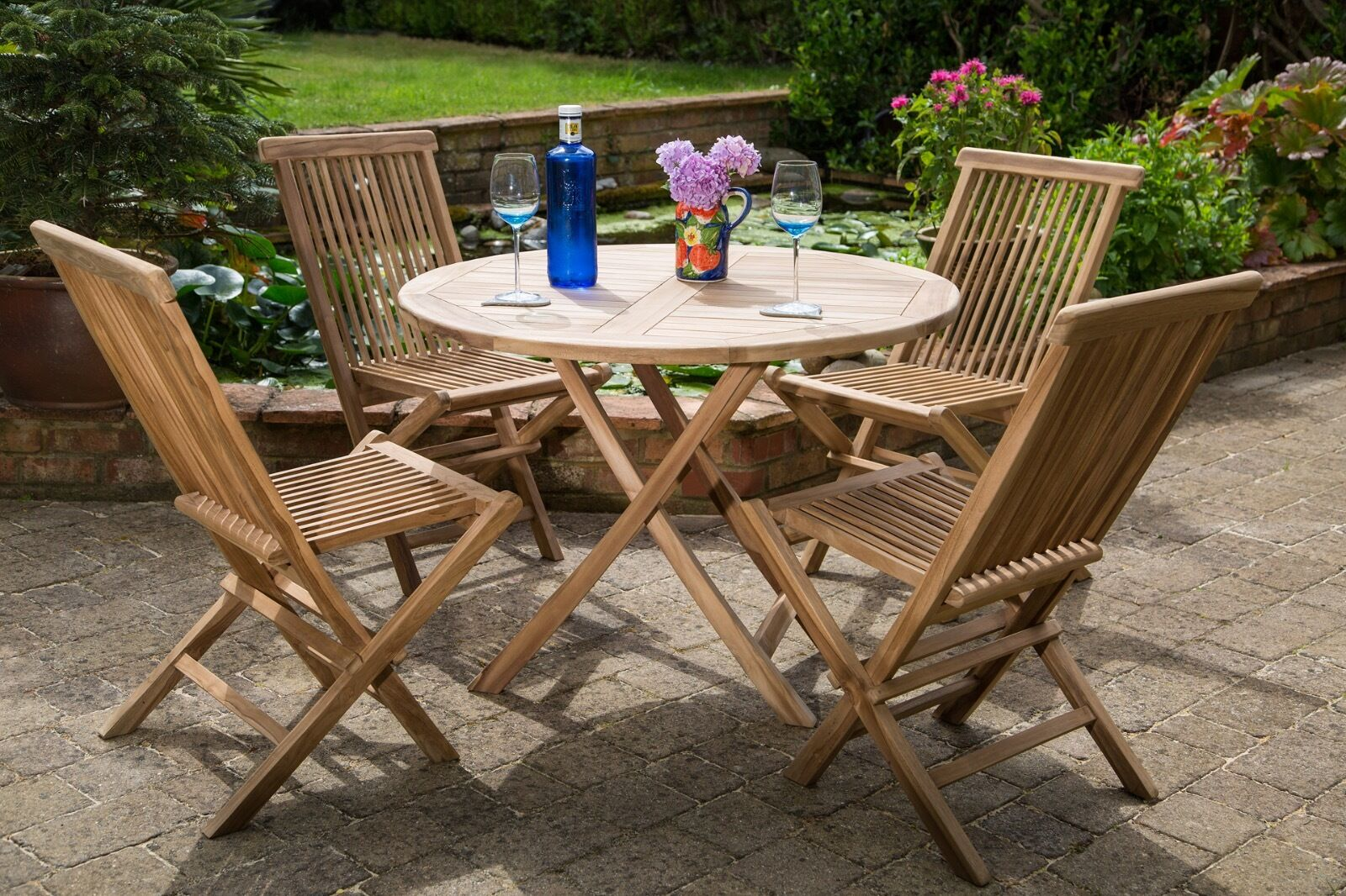 Shenley Teak Dining Table 4 Chairs Garden Furniture Set Free Delivery