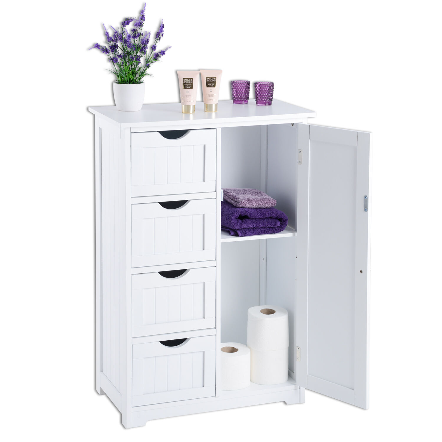 White wooden 4 drawer bathroom cabinet storage cupboard for Bathroom furniture drawers