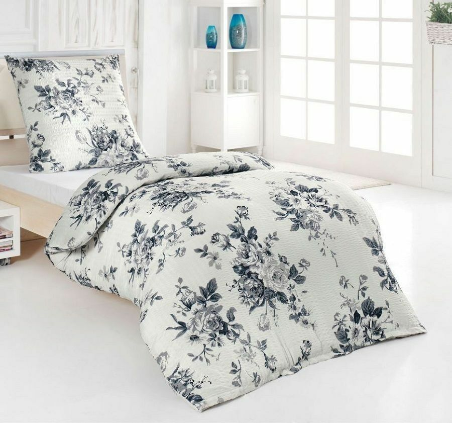 4tlg microfaser bettw sche seersucker anthrazit grau wei rose blume 135x200 neu eur 29 90. Black Bedroom Furniture Sets. Home Design Ideas